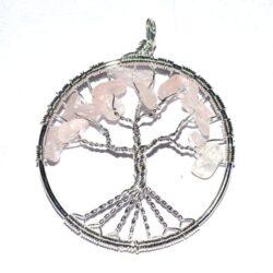 Rose Quartz δέντρο της ζωής κρεμαστό