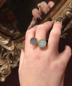Δαχτυλίδι από αμέθυστο και ακουαμαρίνα