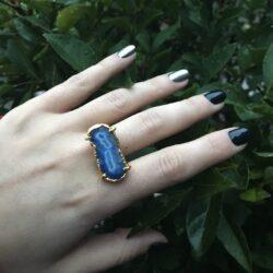δαχτυλίδι αχάτη μπλέ