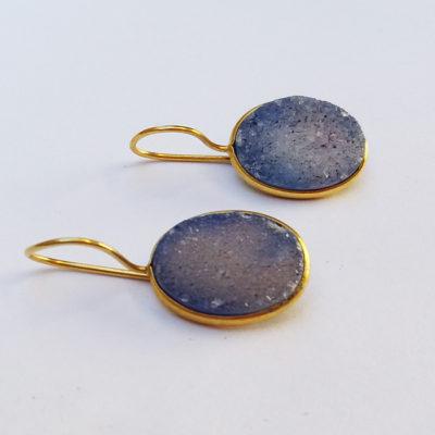 Σκουλαρίκια drusy από Λάπις λάζουλι