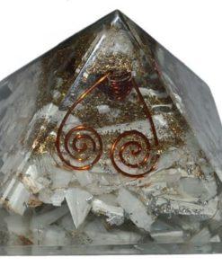 Πυραμίδα οργόνης σεληνίτη με διπλή σπείρα Choko Reiki