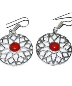 Σκουλαρίκια κύκλοι κόκκινου όνυχα