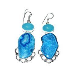 Σκουλαρίκια από μπλε αχάτη