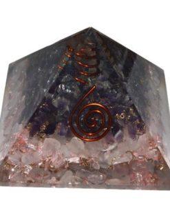 πυραμίδα οργόνης με ροζ χαλαζία και αμέθυστο